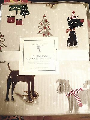 New Pottery Barn Kids Queen Flannel Holiday Dogs sheet set