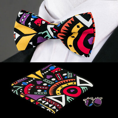 LH-657 Classic Black Floral Mens Bow Tie Hanky Cufflinks Set Wedding Party F&S