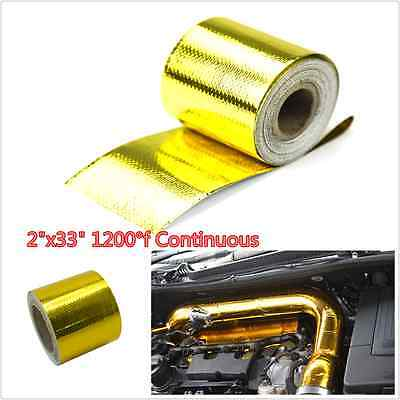 """2""""x33"""" Roll Self Adhesive Reflective Gold High Temperature Heat Shield Wrap Tape"""
