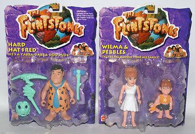2 Mattel THE FLINTSTONES Figures Wilma & Pebbles and Hard Hat Fred, Sealed!