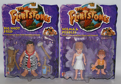 2 Mattel THE FLINTSTONES Figures Wilma & Pebbles and Big Shot Fred, Sealed!