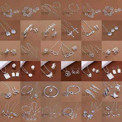 Xmas Gift Jewelry Silver Bangle Necklace Bracelet Earrings Ring Sets