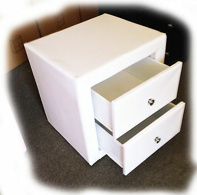 Zing White Faux Leather 2 Drawer Bedside Table  - BRAND NEW