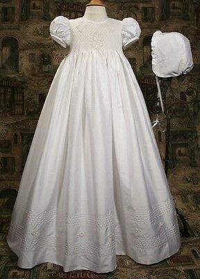 New Girls Christening Baptism Dress Gown White Silk Dupioni Handmade Size 0-12M