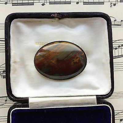 Vintage 1950s Victorian Style HUGE Scottish Agate Silver Tone Brooch Pin. GIFT