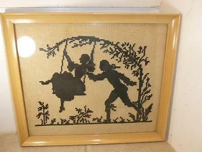 Vintage Wood Frame Cross Stitch Silhouette Man Woman Swing Garden Wall Picture