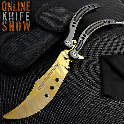 CSGO GOLD TIGER TOOTH Practice Knife Balisong Butterfly Tactical Combat Trainer