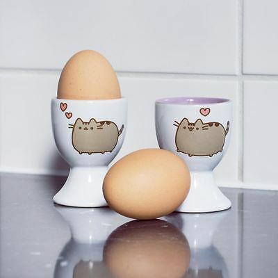 Pusheen The Cat Ceramic Egg Cups White Set of 2 Breakfast Dining Tableware