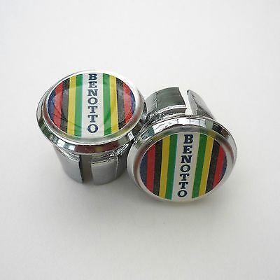 Chrome Racing Bar Plugs Vintage Style Repro GIOS on White Caps