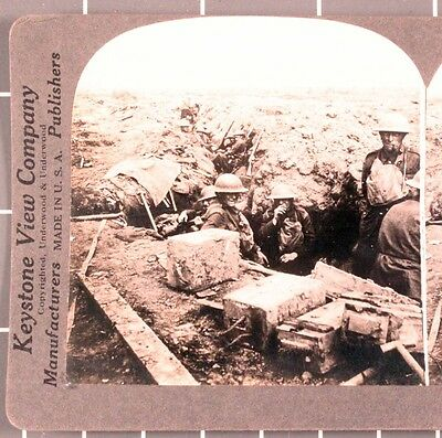WWI Stereoview card:   Scottish Troop in the Trenches