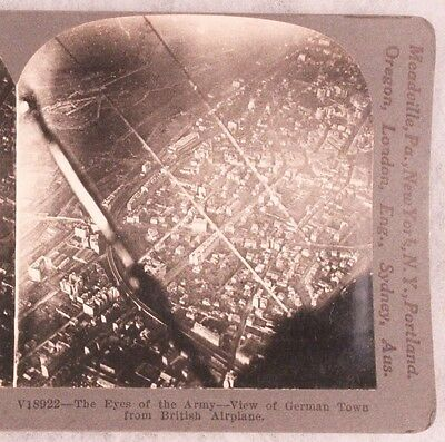 WWI Stereoview card:  Aerial View of German Town form British Airplane