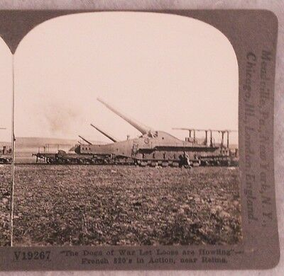 WWI Stereoview card:  French 320mm Artillery Defending Reims