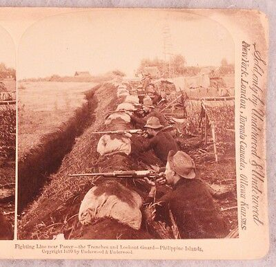 SAW Stereoview card:  Cavalry Troops Firing from Trenches - Pasay, Philippines