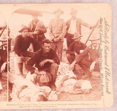SAW Stereoview card:  Caring for Wounded Insurgents - Malaboa, Philippines