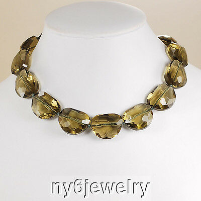 Smoky Topaz Crystal Nugget Necklace +FREE Earrings & Silver Tone Clasp 17-19.5""