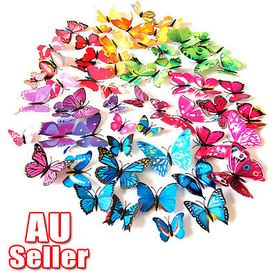 12Pcs 3D PVC Butterfly Home Wedding Room DIY Art Decoration Wall Sticker Decal