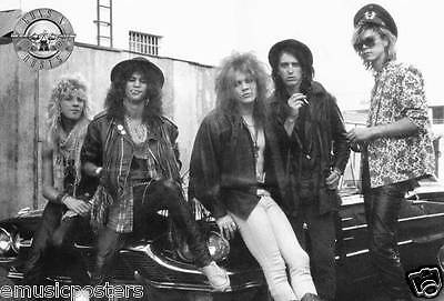 """Guns N' Roses """"young Group Sitting On Classic Ford Thunderbird"""" Poster From Asia"""