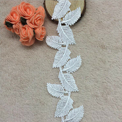 1/3/5 Yards Embroidered Small Leaves Lace Edge Trim Bridal Applique Sewing Craft