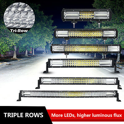 "PHILIPS Triple Rows Spot&Flood LED Work Light BAR SUV UTE ATV 12""/20""/23""/42""52"""