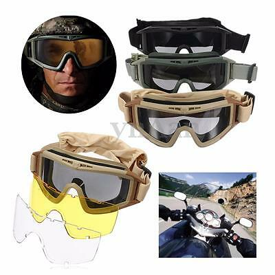 New CS Airsoft Tactical SWAT Goggles Anti-fog Glasses Eye Protection Mask 3Lense