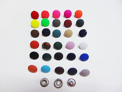 "Lots of 10 - 20 - 50 Colored Metal Snaps Fasteners 15mm 5/8"" --- 42 Colors"