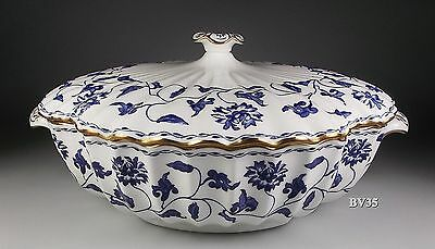 SPODE COLONEL BLUE gold trim ROUND COVERED VEGETABLE SERVING BOWL  9 1/2""