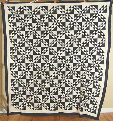 Vintage 1880's Indigo Blue & White Lady of Lakes Ocean Waves Antique Quilt Top!