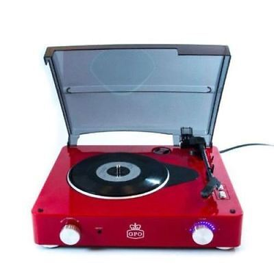 GPO Stylo 3 Speed Record Player RED with Built In Speakers Retro Vinyl Turntable