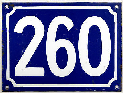Large old blue French house number 260 door gate plate plaque enamel metal sign