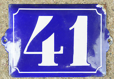 Large old French house number 41 door gate plate plaque enamel steel metal sign