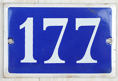 Old blue French house number 177 door gate plate plaque enamel steel metal sign