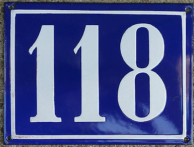 Large old blue French house number 118 door gate plate plaque enamel steel sign