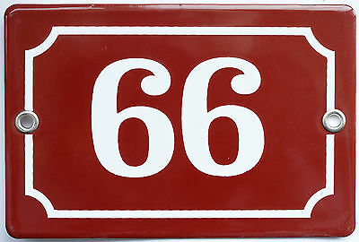 Brown French house number 66 99 door gate plate plaque enamel steel metal sign
