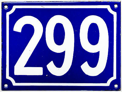 Large old blue French house number 299 door gate plate plaque enamel metal sign