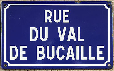 French enamel steel road street sign plaque plate Rue Val du Bucaille Normandy