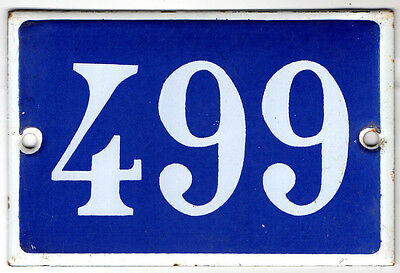Old French house number 499 door gate plate plaque enamel steel metal sign