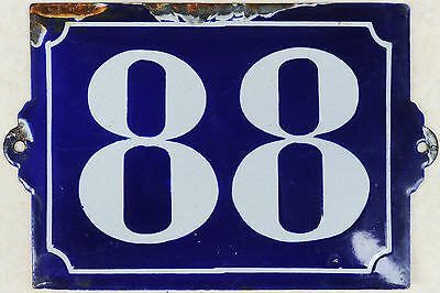 Old blue French house number 88 door gate plate plaque enamel steel metal sign