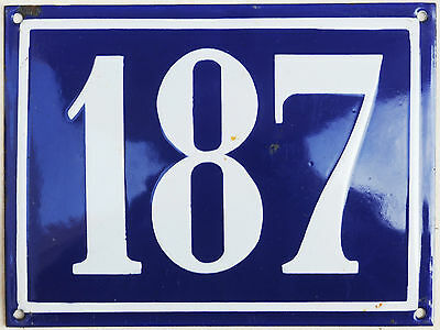 Large old French house number 187 door gate plate plaque enamel steel metal sign