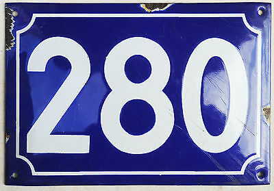 Large old French house number 280 door gate plate plaque enamel steel metal sign