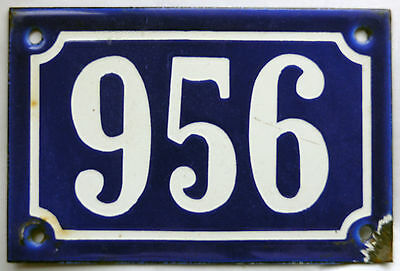 Old blue French house number 956 door gate plate plaque enamel steel metal sign