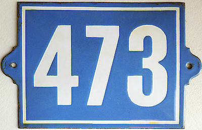Big old French house number 473 door gate plate plaque enamel steel metal sign