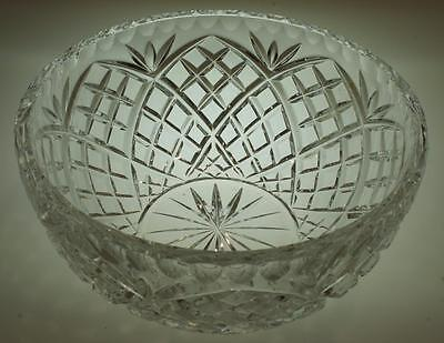 Vintage Crystal Diamond Cut Fruit Bowl Trifle Dish Piecrust Rim VA194