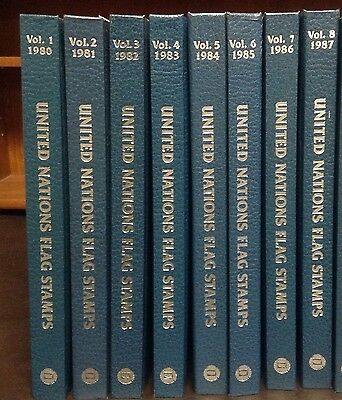 United Nations Flag Stamps First Day Covers, 1980-1987, 8 Year Sets in Books