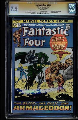 Fantastic Four #116 Cgc 7.5 White  Ss Stan Lee Signed Doctor Doom  #1206537004