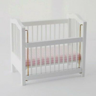 Dolls House White Cot   :   Miniature Furniture in 12th scale