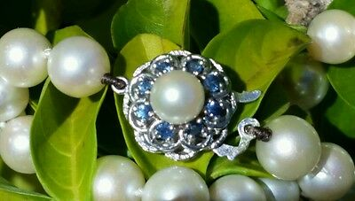 Vintage 14k White Gold Pearl  Sapphire Clasp Strand  Necklace Estate Jewelry
