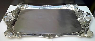 ART NOUVEAU WMF Silverplate Figural Flowers Handled Serving Platter Tray ca 1890
