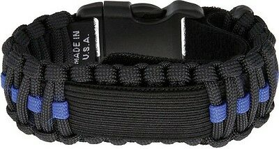 Survco Tactical WBBLDS2 Para Cord Watch Band Black Blue Line