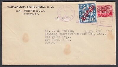 Honduras 1930 Airmail Cover San Pedro Sula To New York Usa