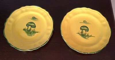 Pair Of Vintage Italian Plates with Hand Painted Mushrooms